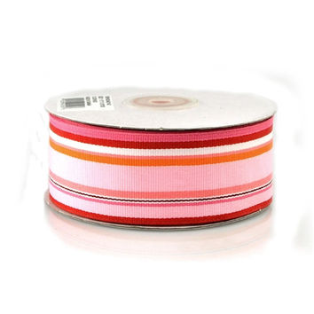 Rainbow Striped Grosgrain Ribbon, 1-1/2-inch, 25-yard, Multi-Red