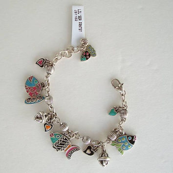 Brighton LIL' SEA TROPICAL FANTASY Charm Bracelet Colorful Enamel Fish
