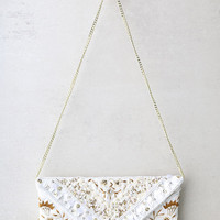 Hallelujah Cream Beaded Clutch