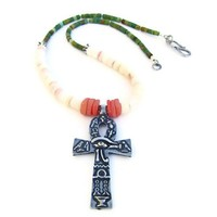 Pewter Ankh Handmade Necklace Shell Turquoise Egyptian Beaded Jewelry