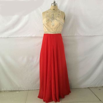 Scoop Wedding Party Dress Sexy Red Chiffon Long A Line Prom Dress Summer Evening Dresses