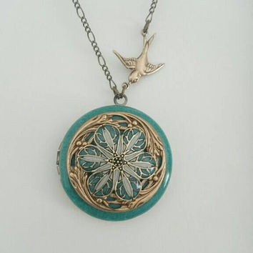 Cute Antique brass filigree flower petal Locket - Vintage Ornate Locket - dark mint green Color Pendant.