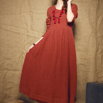 red dress/ linen evening dress / long dress - custom made