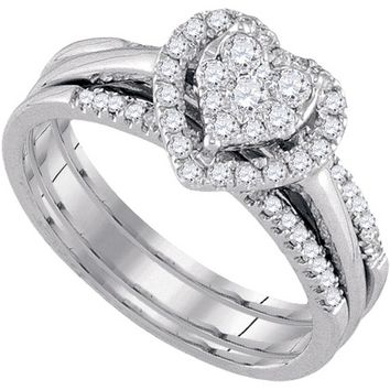10k White Gold Womens Round Diamond Amour Heart Bridal Wedding Engagement Ring Band Set 1/2 Cttw