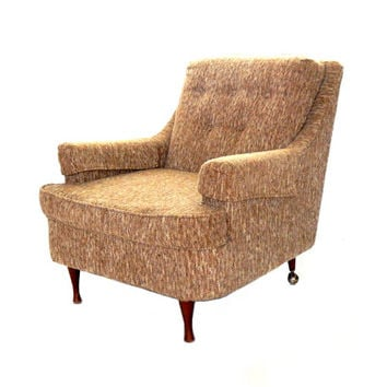 Mid Century Armchair Upholstered Armchair Beige Brown Chair Retro Armchair Lounge Chair Mid Century Modern Furniture Retro Furniture