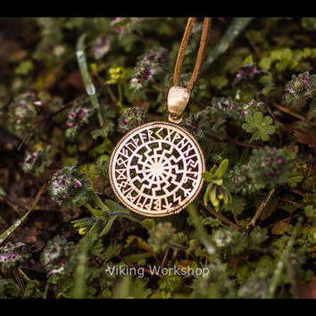 Black Sun Symbol with Runic Calendar Necklace Amulet Bronze Pendant Pagan Jewelry