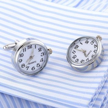 New Arrival Men's Fashion Cufflink Functional Watch Design With Battery Real Watch Movement novelty cufflinks best gift for man