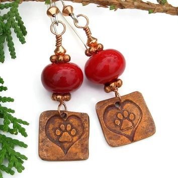 Dog Love Handmade Earrings, Copper Paw Prints and Hearts, Red Lampwork Jewelry