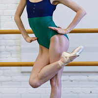 Custom Color Block Tank Leotard with Buttons - Elan style