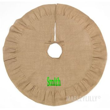 Monogrammed Burlap Tree Skirt | Marleylilly