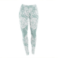 "Gill Eggleston ""Protea Jade White"" Blue Flowers Yoga Leggings"