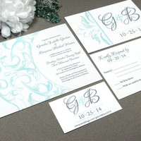 Elegant Vintage Victorian Wedding Invitation Set by RunkPock Designs : Drawn Swirl Script Calligraphy shown in pale blue and gray