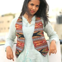 Bohemian women VEST, Ikat WAISTCOAT, Short JACKET, Gypsy Loose dress, Cardigan, boho, hippie clothes, Hippie women Blouse, Kimono