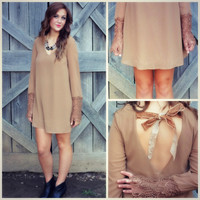 Wanderlust Mocha Lace Bell Sleeve Shift Dress