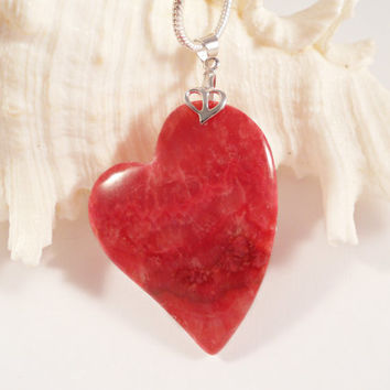 Rhodochrosite Heart Pendant, Heart Jewelry, Rhodochrosite Jewelry, Mother's Day