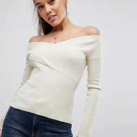 Missguided Knitted Cross Front Ribbed Bardot Top at asos.com