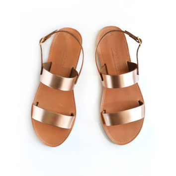 Sandals, Leather sandals, Greek sandals, Handmade sandals women, Two strap leather sandals with ankle strap, KYTHIRA