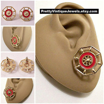 Monet Red Ships Wheel Pierced Earrings Gold Tone Vintage Boat Round Spokes Spacer Beads