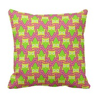 Psychedelic Neon Owl Pattern Throw Pillow