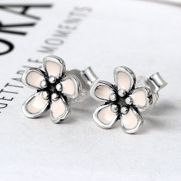 100% Real 925 Sterling Silver Romantic Cherry Blossom Stud Earrings For Women Compatible with Original Pandora Jewelry Gift