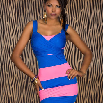 Blue and Pink Striped Bodycon Mini Dress