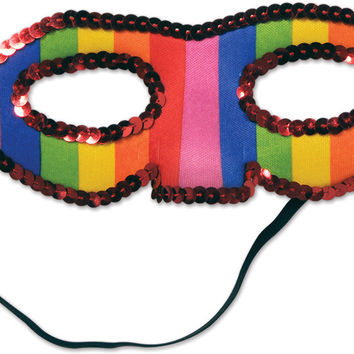 sequined rainbow half mask Case of 12