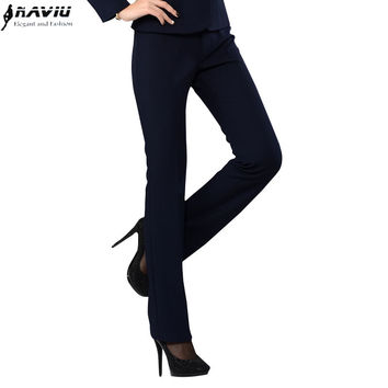 Spring Formal female trousers OL women straight pants slim western-style trousers plus size work wear pants overalls Navy black