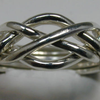Ladies Four Band Sterling Silver Puzzle Ring