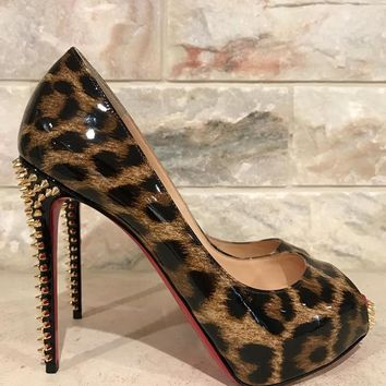 NIB Christian Louboutin NVPS 120 New Very Prive Leopard Spike Heel 36.5 $1045