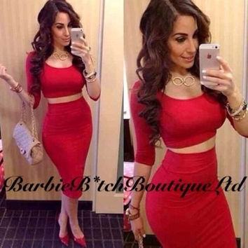 Womens High Waisted Cropped Outfit Two Piece Bodycon Dress = 1958283460