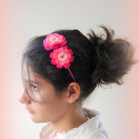Pink hairband. Handmade hairband. Flower headband. Girl hairband. Hair accessory. Felted hairband.