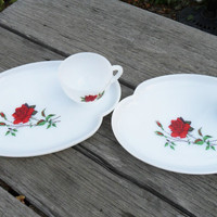 Federal Vintage Milk Glass Tea Set in Rosecrest -Red Rose Snack Plate