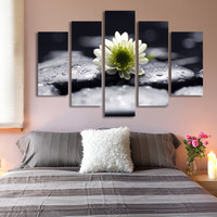 5 Panel Stone White Flower Painting Modern Wall Art Canvas Printed Painting Decorative Picture for Bedroom No Frame
