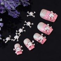 Yesurprise 10pcs White Skull 3D Alloy Nail Art Glitters Slices DIY Decoration by Nicedeco