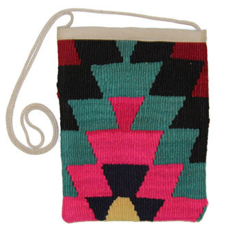 Eliz Pink/Blue Diamond Pattern Kilim Bag