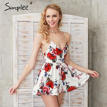 Simplee Summer beach boho floral print overalls Backless sexy bodysuit women jumpsuit romper Club white chifon playsuit leotard