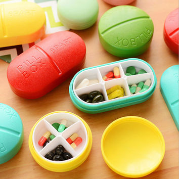 1pcs Portable 6 4 Slots seal folding Pill Cases Jewelry candy box Storage Box Vitamin Medicine Pill Box Storage Case Container
