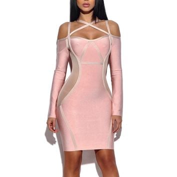 Off Shoulder Cutout Bandage Dress