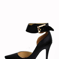 (aml) Ankle buckle point black pumps