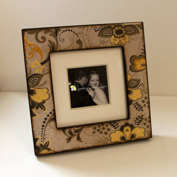 5x5 or 3x3 Photo Frame Yellow Grey Floral