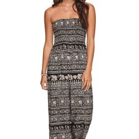 LA Hearts Smocked Strapless Jumpsuit - Womens Dress - Multi -
