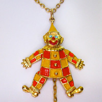Vintage Carnival Clown Necklace Pendant by ElementerriJewelry