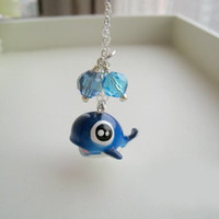 Blue cute whale necklace