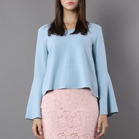 Swingy Pastel Blue Top with Flare Sleeves