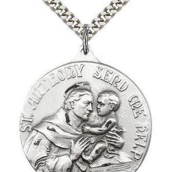 """Saint Anthony Medal For Men - .925 Sterling Silver Necklace On 24"""" Chain - 30... 617759880557"""