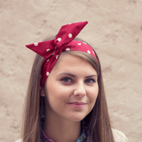 Dolly Bow Hair Wrap. 50s StyleTwist Scarf. Red Wire Headband. Minnie Mouse Headband.