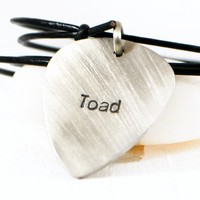 Custom Hand Stamped Guitar Pick Necklace On Adjustable Leather.
