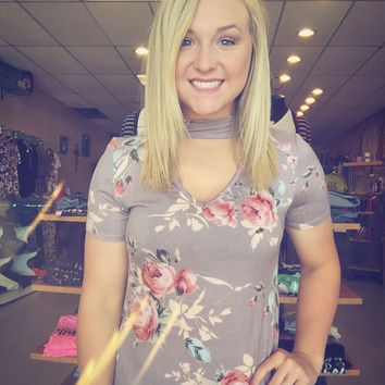 Taupe floral choker top