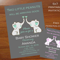 Unique Twins Baby shower invitation, gray and mint, Twins elephant baby shower invitation,modern, grey, mint, 5x7 printable invitation,