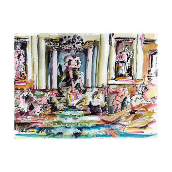 Italy Trevi Fountain Rome Italy Original watercolor and Ink Study 11 by 15 inch by Ginette